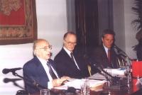 Conferenza Europea sullo Statuto di Roma istitutivo della Corte Penale Internazionale. Alla presidenza: Sergio Stanzani, Giovanni Conso, Francesco Rut