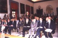 Conferenza Europea sullo Statuto di Roma istitutivo della Corte Penale Internazionale. In prima fila, da sinistra: Robert Badinter, Emma Bonino, Giova