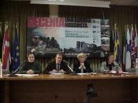 Convegno: CECENIA: UNA GUERRA NASCOSTA, promosso dal Partito Radicale e dai deputati europei della lista Bonino. Da sinistra: Libkan Basaeva, presiden