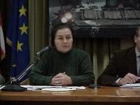 """Libkan Basaeva, presidente delle Donne del Caucaso (al convegno, presso la Sala delle Bandiere, """"Cecenia: una guerra nascosta"""")."""