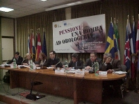 Convegno: PENSIONI UNA BOMBA AD OROLOGERIA promosso dalla Lista Bonino presso la Sala delle Bandiere (Parlamento Europeo). Da sinistra: Mauro Marè, Em
