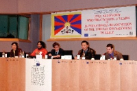 3° seminario europeo sul Tibet. Al tavolo della presidenza: Tsewang NORBU, Germany, Heinrich Boell Stiftung; Olivier Dupuis; Wei Jingsheng.