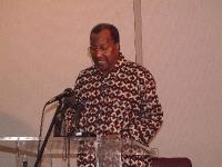 Il presidente del Mali Omar Konare, nel corso della conferenza del Mali, per la ratifica del tribunale penale internazionale.