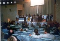 Conferenza in occasione del funerale di Antonio Russo. Sul palco, da sinistra: Sergio Stanzani, Maurizio Turco, Marco Cappato, Emma Bonino, Rita Berna