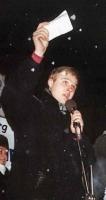 Andrej Rodionov, in occasione di una manifestazione antimilitarista, contro i crimini di guerra commessi in Cecenia.