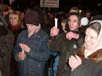 Manifestazione antimilitarista, contro i crimini di guerra commessi in Cecenia.