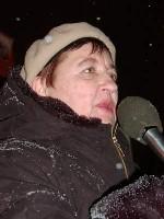 Ida Kuklina, in occasione di una manifestazione antimilitarista, contro i crimini di guerra commessi in Cecenia.