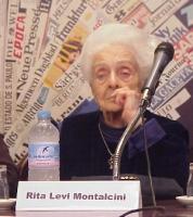 """Conferenza stampa di presentazione del convegno contro le mutilazioni genitali femminili, intitolato """"Stop FGM!"""". Rita Levi Montalcini."""