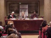 """Convegno contro le mutilazioni genitali femminili, intitolato """"Stop FGM!"""". Al tavolo, da sinistra: Mona El Tobgui,   Emma Bonino, Fatou Waggeh (Dirett"""
