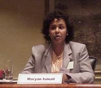 """Convegno contro le mutilazioni genitali femminili, intitolato """"Stop FGM!"""". Maryan Ismail, presidente dell'""""Associazione Mamme e Bimbi somali"""", Milano."""