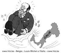 VIGNETTA Lo stivale italiano sferra un calcio nel sedere al ministro belga Louis Michel (che ha minacciato di chiedere all'Unione Europea sanzioni con