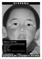 Cartolina di denuncia della scomparsa di Gendhun Choekyi Nyima, 11 anni, tibetano, sottratto alla famiglia dalle autorità cinesi, il più giovane prigi