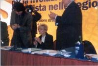 Assemblea dei Radicali. Vista del tavolo di presidenza, con Marco Cappato, Emma Bonino e Marco Pannella, nell'atto di applaudire.