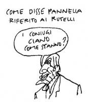 """VIGNETTA """"Come disse Pannella riferito ai Rutelli  - I coniugi Ciano come stanno?"""". Vignetta di Vincino, apparsa sul quotidiano """"Il Foglio""""."""