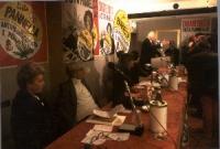 Assemblea in occasione della campagna elettorale della lista Pannella per le comunali. Al tavolo di presidenza: Barbara Alberti, Adele Faccio, Rita Be