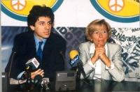 Marco Cappato ed Emma Bonino , in occasione di una conferenza stampa alla sede di Torre Argentina per i referendum days (giornate di mobilitazione str