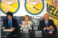 Marco Cappato, Emma Bonino e Marco Pannella, in occasione di una conferenza stampa alla sede di Torre Argentina per i referendum days (giornate di mob