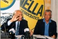 Marco Pannella e Paolo Vigevano, in occasione di una conferenza stampa alla sede di Torre Argentina per i referendum days (giornate di mobilitazione s