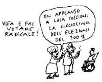 """VIGNETTA Emma Bonino: """"Un applauso a Luca Coscioni la Cicciolina del 2001"""". Vignetta di Vincino apparsa sul quotidiano """"Il Foglio""""."""