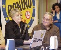 Rita Bernardini e Giorgio Catalano, candidato della lista Bonino - in occasione di una conferenza stampa nel corso della campagna elettorale.
