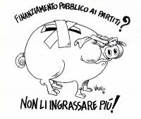 """VIGNETTA Un salvadanaio a forma di maiale. """"Finanziamento pubblico ai partiti? Non li ingrassare più!"""". Vignetta di Vauro, utilizzata in occasione del"""