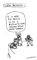 """VIGNETTA Emma Bonino: """"O ci date più spazio in tv o buttiamo Luca Coscioni dalla rupe Tarpea"""". Vignetta di Vincino, pubblicata sul quotidiano """"Il Fogl"""
