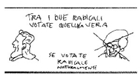 """VIGNETTA La vignetta di Vincino, contrappone la """"vera"""" radicale Emma Bonino all'ex-radicale Francesco Rutelli."""