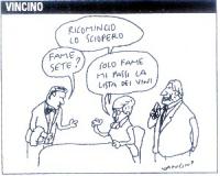 """VIGNETTA Vignetta di Vincino, (""""Corriere della sera"""") uscita in occasione della ripresa del digiuno di Emma Bonino, dopo alcuni giorni di sciopero del"""