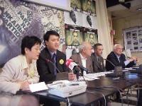 Conferenza stampa, presso la sede romana del PR, di Erping Zhang (portavoce mondiale del Falun Gong), Sergio D'Elia, Alfredo Fava (contatto in Italia