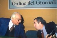 Marco Pannella a colloquio con Mario Petrina (presidente dell'Ordine dei Giornalisti).
