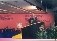Marco Pannella alla tribuna del 3* Congresso Italiano del Partito Radicale.