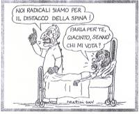 VIGNETTA La vignetta di Forattini, uscita in occasione del voto per le politiche, si riferisce al recente sciopero della sete di Emma Bonino; e una le
