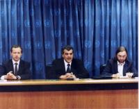 Conferenza stampa presso la sede dell'ONU. Al tavolo: Paolo Pietrosanti, ed Emil Scuka (segretario generale dell'unione dei ROM).