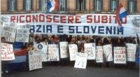 Manifestazione davanti alla sede del governo, per il riconoscimeno di Croazia e Slovenia. Si riconoscono fra gli altri: Peppino Calderisi, Sergio Stan