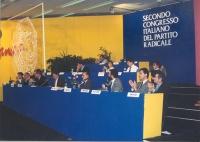 2° Congresso italiano del Partito Radicale Transnazionale. Tribuna di presidenza. Prima fila: Emma Bonino, Gianfranco Spadaccia, Paolo Vigevano, Franc