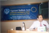 """Seminario al Parlamento Europeo: """"Diritto alla lingua internazionale. Come realizzare il sogno entro il 2020"""". Giorgio Pagano, segretario dell'ERA."""