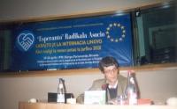 """Seminario al Parlamento Europeo: """"Diritto alla lingua internazionale. Come realizzare il sogno entro il 2020"""". Olivier Dupuis."""