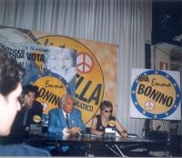 Conferenza stampa durante la campagna elettorale per le europee di giugno. Al tavolo, da sinistra: Marco Cappato, Marco Pannella, Rita Bernardini.
