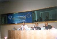 Seminario sull'esperanto al Parlamento Europeo. Al tavolo: Giorgio Pagano (segretario dell'ERA), Andrea Chiti Batelli (già presidente dell'ERA), Leo S