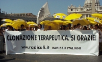 "Manifestazione davanti a San Pietro per la libertà di ricerca scientifica. Striscione: ""Clonazione terapeutica. Sì grazie!""."