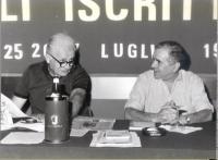 Mauro Mellini ed Enzo Tortora, ad un'assemblea degli iscritti radicali.