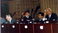 Altiero Spinelli, Giovanni Negri, Marco Pannella, al Parlamento Europeo.