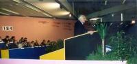 4° Congresso italiano del PR. Marco Pannella alla tribuna, con vista dei banchi di presidenza. 6212bis