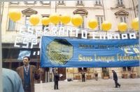 Giorgio Pagano a una manifestazione esperantista presso il Consiglio Europeo per la revisione del trattato dell'Unione Europea.