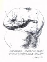 """VIGNETTA """"Enzo Marzullo...La vita è un segno? O i segni aiutano a vivere meglio?"""". Vignetta firmata Romani."""