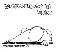 """VIGNETTE """"San Patrignano gioco da villano"""". Vignetta firmata Michele Cavaliere."""