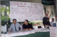 Partecipazione dell'ERA al 1° convegno europeo di esperanto. (Seduto al tavolo, 1° a sinistra: Giorgio Pagano).