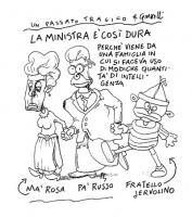 """VIGNETTA """"La ministra [Rosa Russo Jervolino] è così dura perchè viene da una famiglia in cui si faceva uso di modiche quantità d'intelligenza"""". Vignet"""