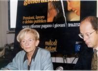 """Emma Bonino partecipa al convegno: """"Generazioni contro - Pensioni, lavoro, debito pubblico"""", promosso dai Radicali Italiani. (Accanto a lei, Nicola Sa"""