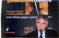 """Claudio Martelli partecipa al convegno: """"Generazioni contro - Pensioni, lavoro, debito pubblico"""", promosso dai Radicali Italiani."""